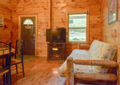 Shawnee Cabin - Living and Fireplace